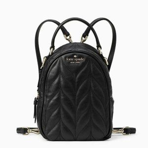 KATE SPADE New York Briar Lane Quilted Mini Convertible Black Leather Backpack